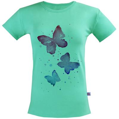 تیشرت زنانه آکو طرح پروانه رنگی کد SC24