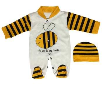 ست دو تکه لباس نوزادی طرح زنبور مدل PK-H220
