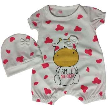 ست سرهمی و کلاه نوزادی دخترانه مدل PK-H229-pink