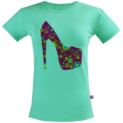 تی شرت زنانه آکو طرح کفش کد BC84