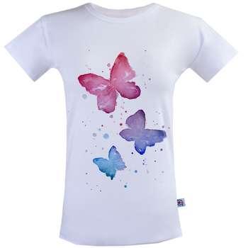 تیشرت زنانه آکو طرح پروانه رنگی کد SS24