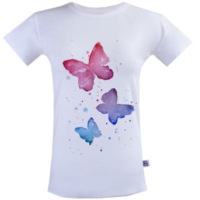 Photo of تیشرت زنانه آکو طرح پروانه رنگی کد SS24