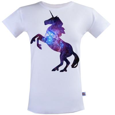 تصویر تیشرت زنانه آکو طرح اسب تک شاخ کد SS70