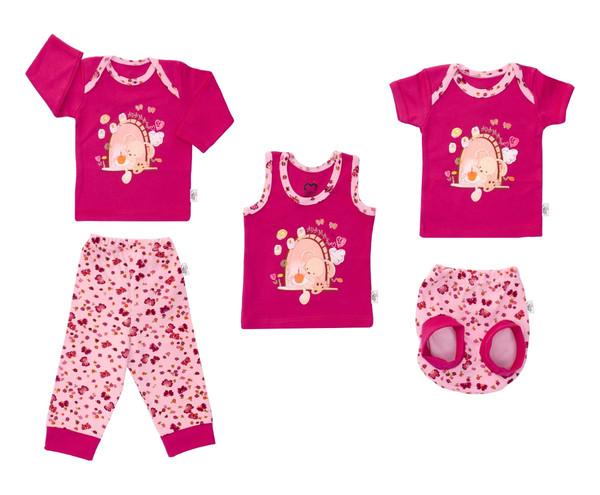 ست 5 تکه لباس نوزادی دخترانه آدمک طرح خرگوش