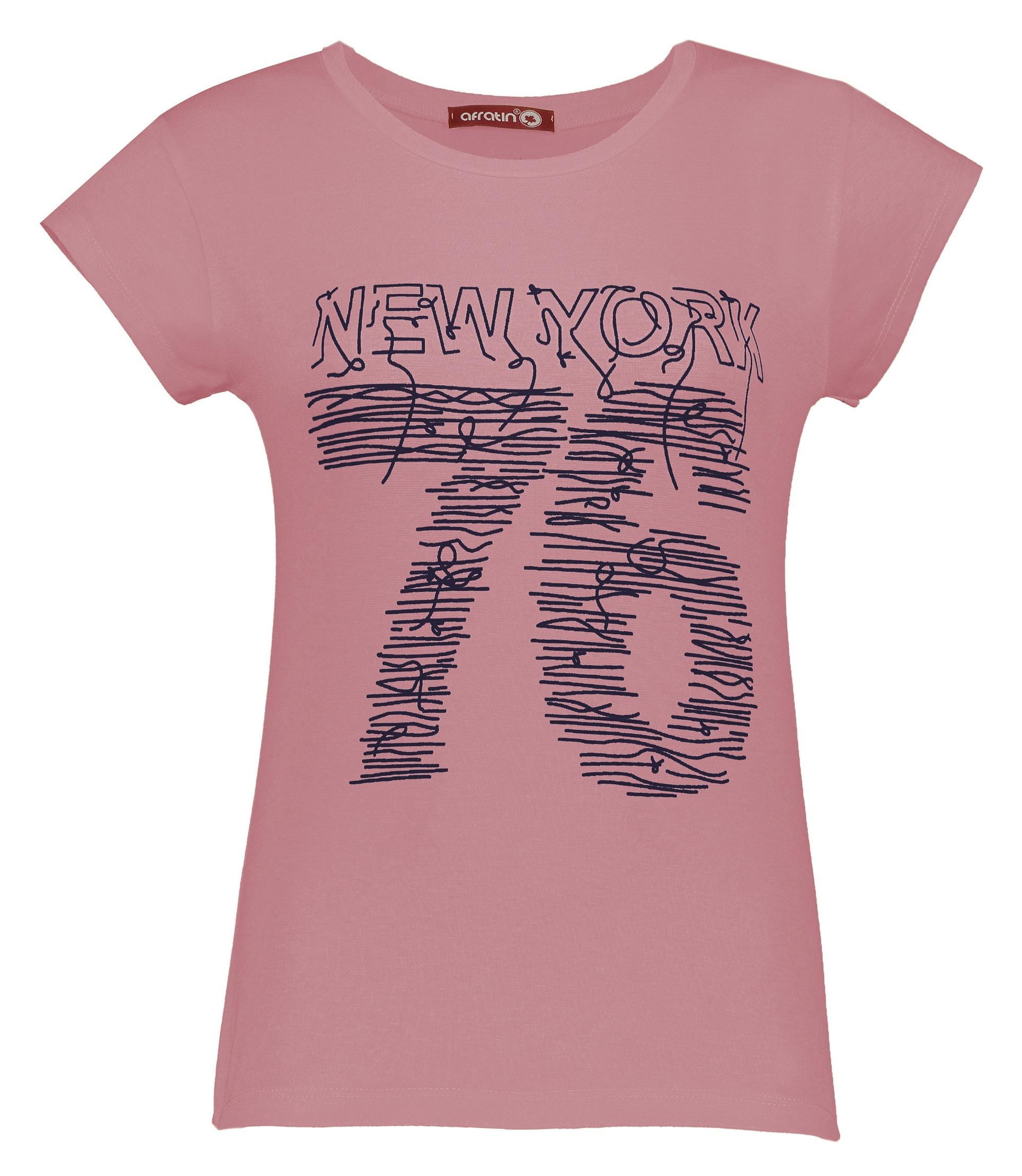 تصویر تی شرت زنانه افراتین کد 2535 رنگ کالباسی