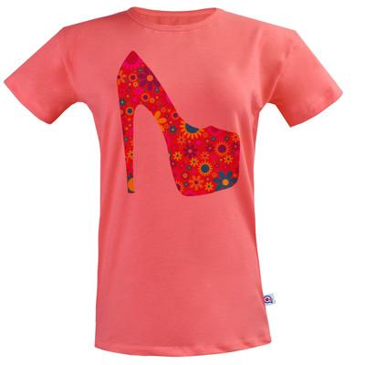 تصویر خرید تی شرت زنانه آکو طرح کفش کد BG84