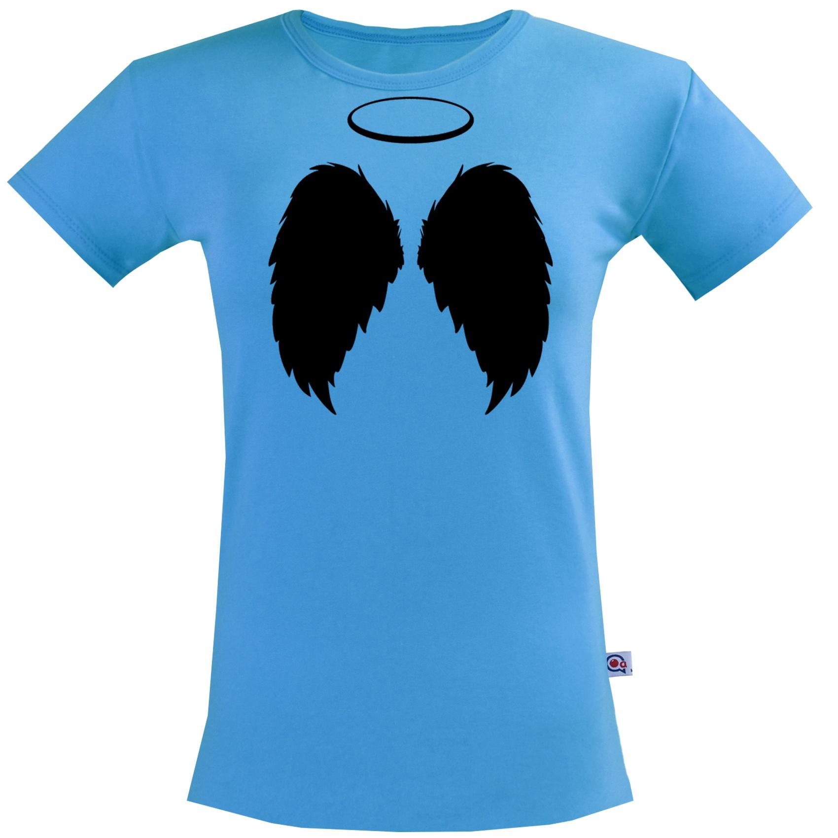 تیشرت آستین کوتاه  زنانه آکو طرح بال فرشته کد Na042
