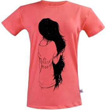 تی شرت زنانه آکو طرح Black Hair Girl  کد SG102
