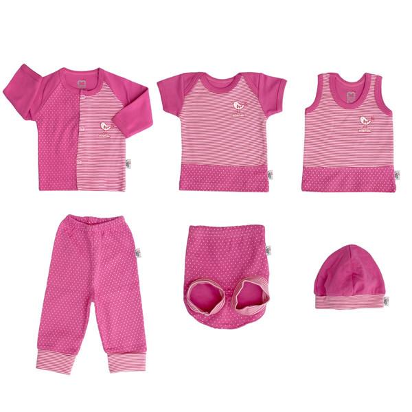 ست 6 تکه لباس نوزادی دخترانه آدمک طرح پرنده کوچولو کد 01