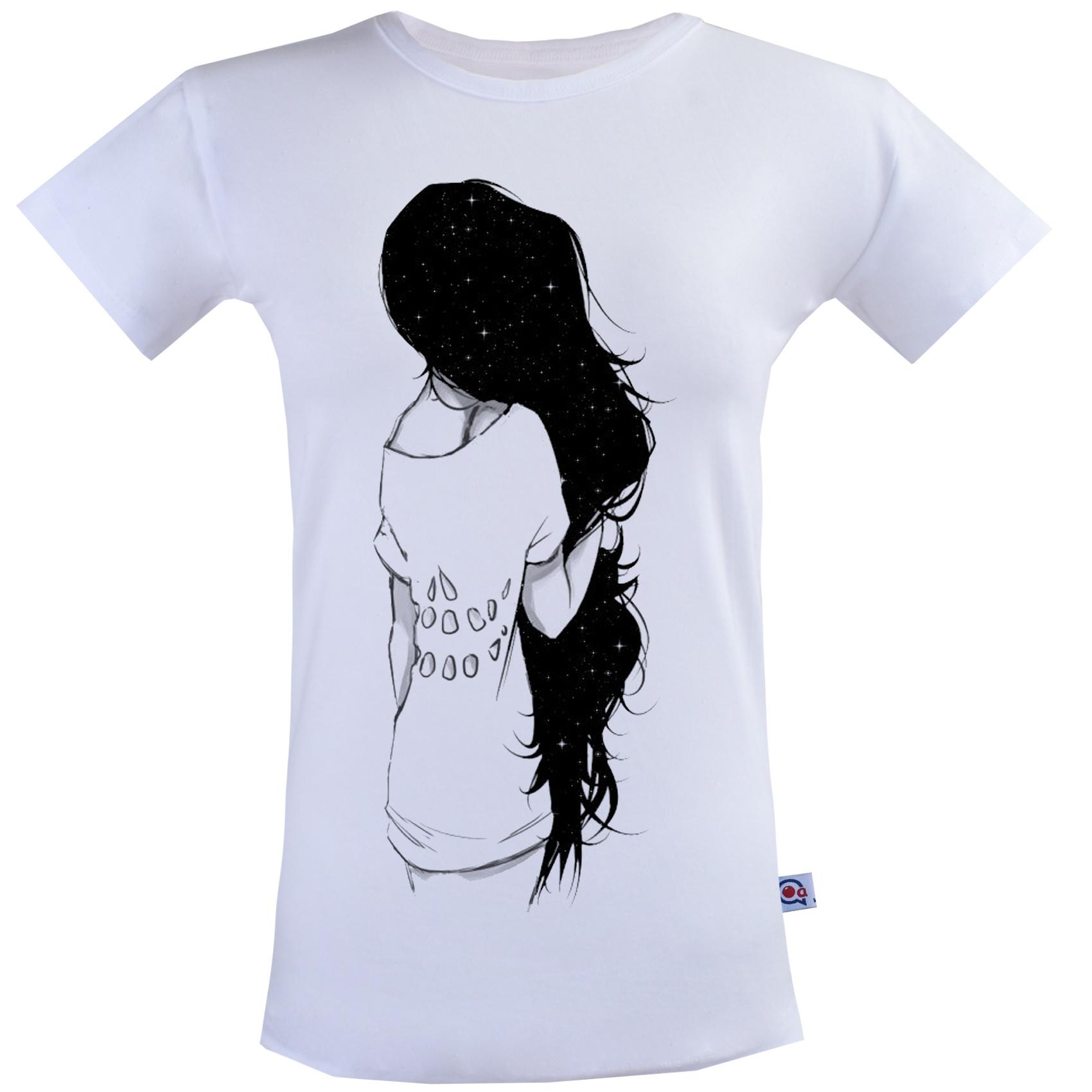 تی شرت زنانه آکو طرح Black Hair Girl  کد SS102