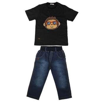 ست تی شرت و شلوارک پسرانه گراکو طرح میمون کد 116