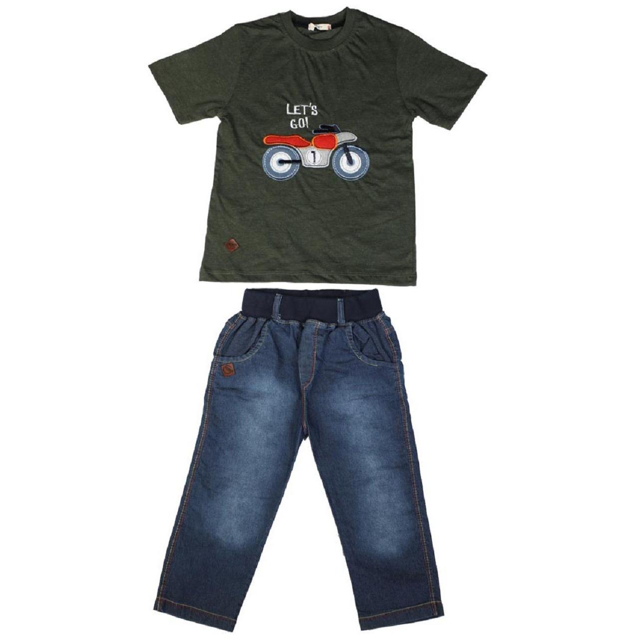 ست تی شرت و شلوارک پسرانه گراکو طرح موتور کد 119
