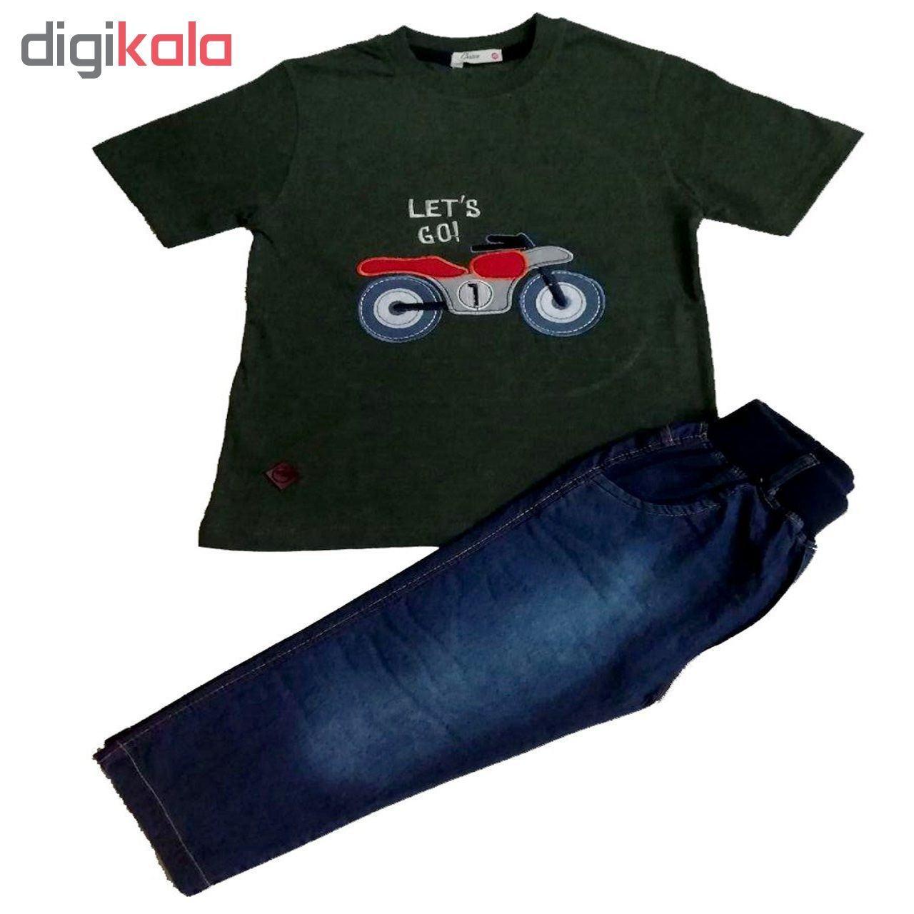 ست تی شرت و شلوارک پسرانه گراکو طرح موتور کد 119 main 1 1