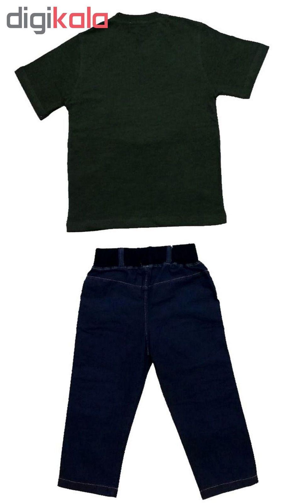ست تی شرت و شلوارک پسرانه گراکو طرح موتور کد 119 main 1 7