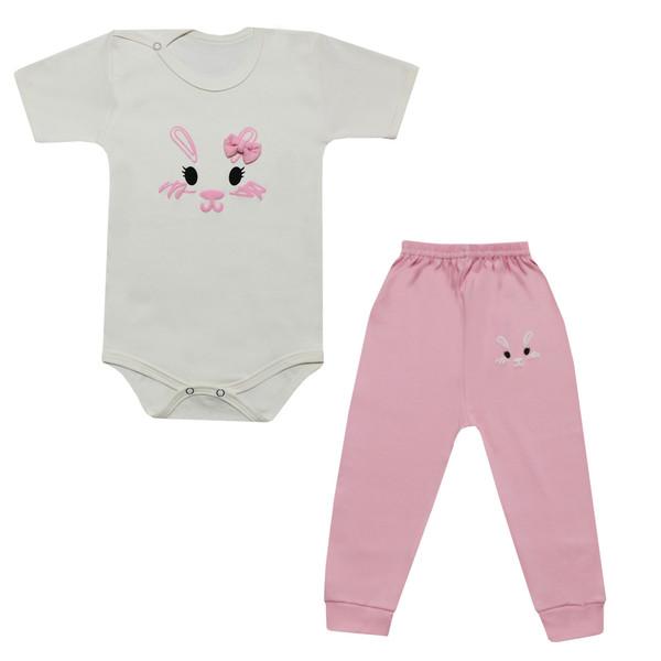 ست بادی آستین کوتاه و شلوار نوزادی دخترانه طرح خرگوش کد 12-22