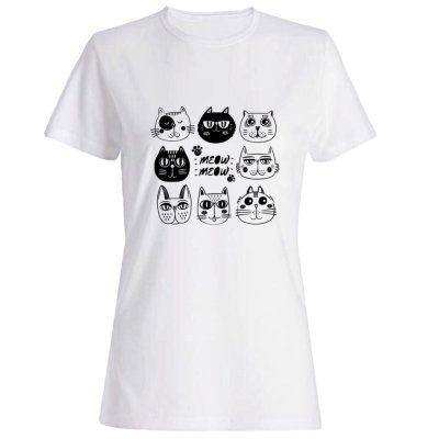 تیشرت زنانه طرح گربه کد 5556