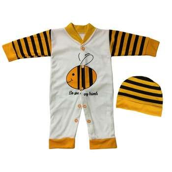 ست سرهمی و کلاه نوزادی پسرانه طرح زنبور مدل PK-H220