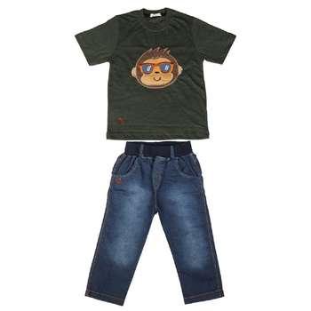 ست تی شرت و شلوارک پسرانه گراکو  طرح میمون کد 114