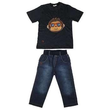 ست تی شرت و شلوارک پسرانه گراکو طرح میمون کد 115