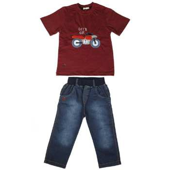 ست تی شرت و شلوارک پسرانه گراکو طرح موتور کد 118