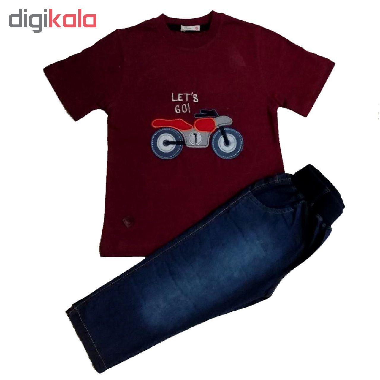 ست تی شرت و شلوارک پسرانه گراکو طرح موتور کد 118 main 1 1