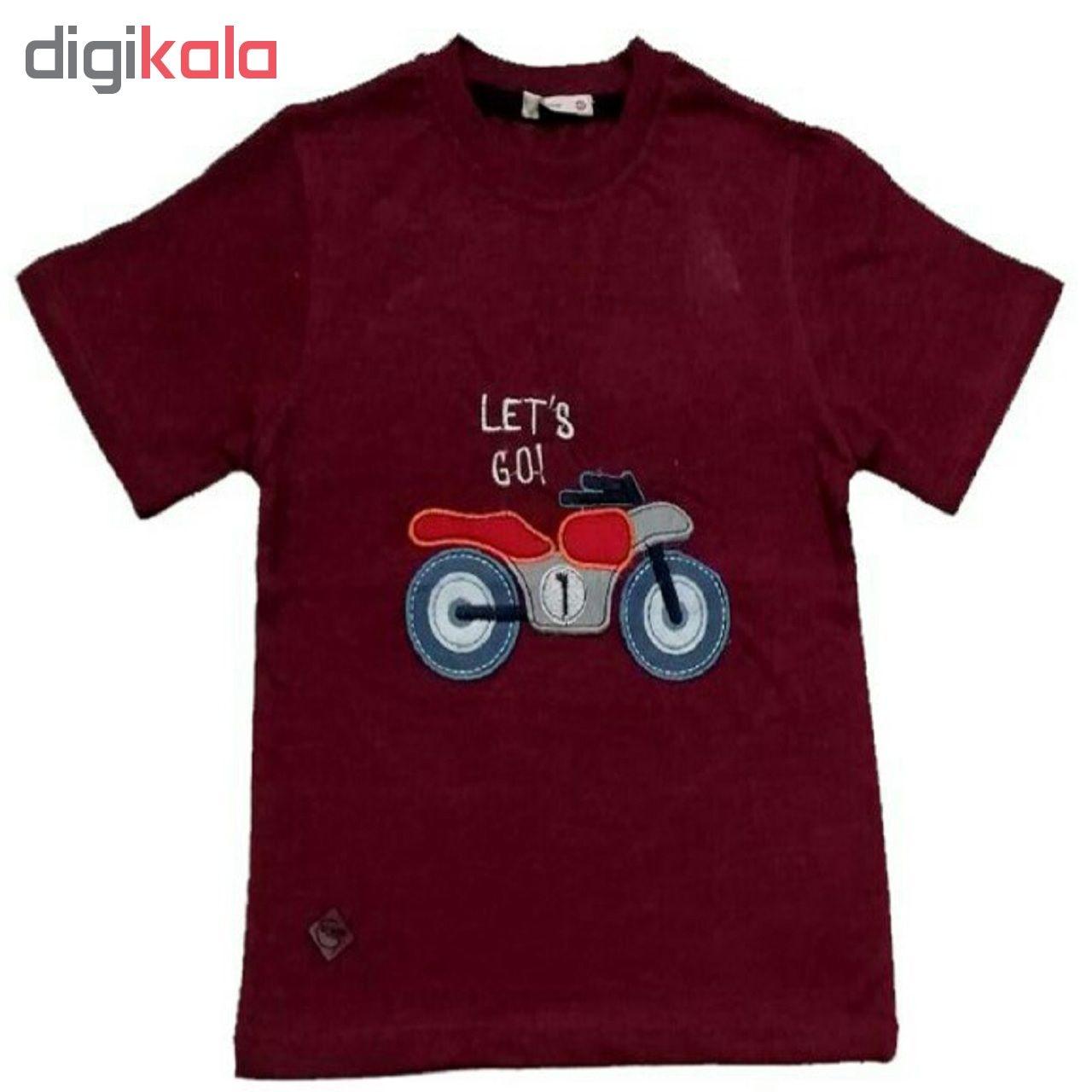 ست تی شرت و شلوارک پسرانه گراکو طرح موتور کد 118 main 1 2
