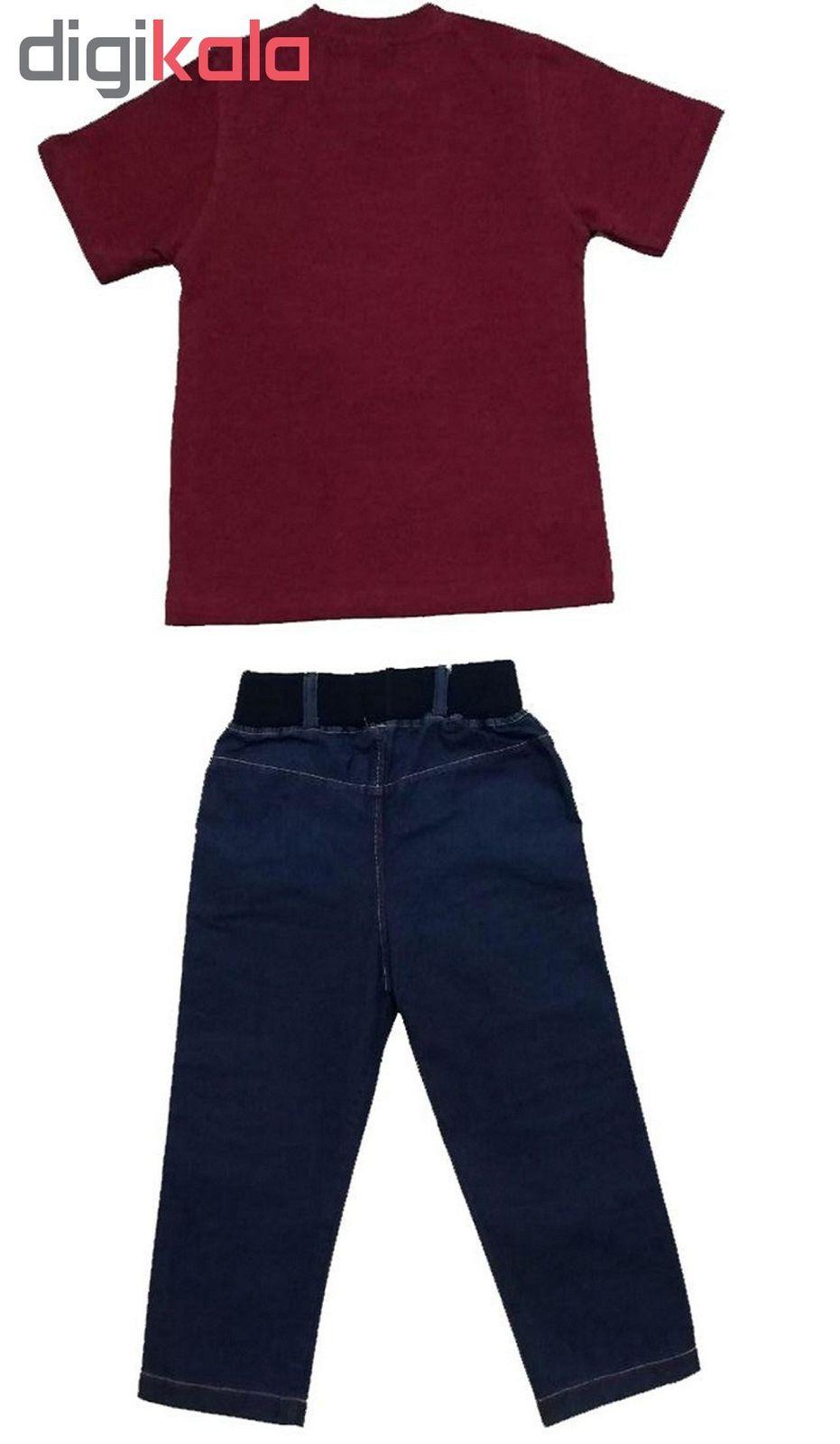 ست تی شرت و شلوارک پسرانه گراکو طرح موتور کد 118 main 1 3
