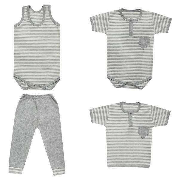 ست 4 تکه لباس نوزادی طرح باربد کد 10-10