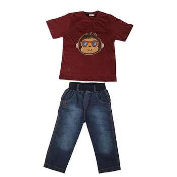 ست تیشرت و شلوارک پسرانه گراکو مدل میمون کد 117