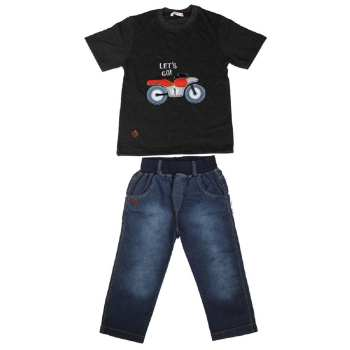 ست تی شرت و شلوارک پسرانه گراکو طرح موتور کد 120