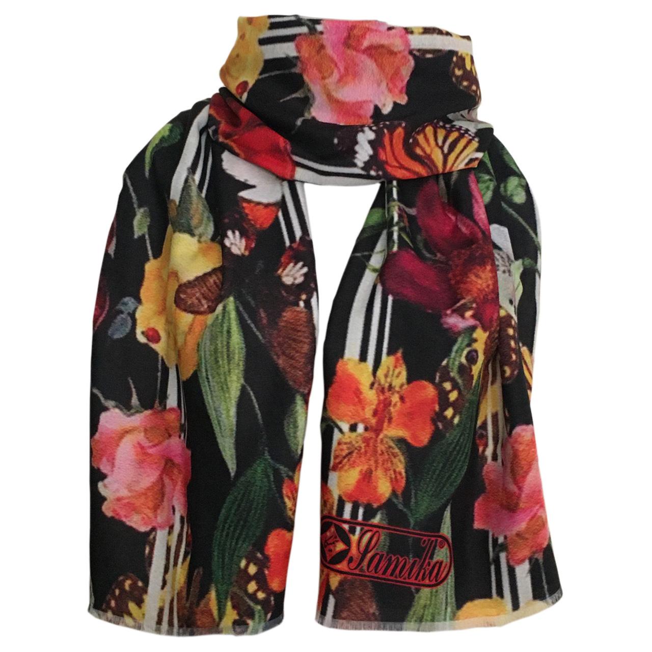 شال زنانه سمیکا طرح گل و پروانه کد C218