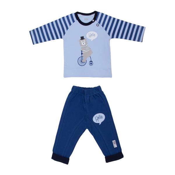 ست تی شرت و شلوار نوزادی پسرانه بیبی بو مدل 9330