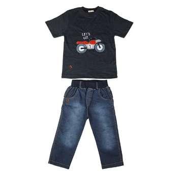 ست تی شرت و شلوارک پسرانه گراکو طرح موتور کد 121