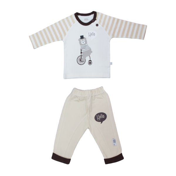 ست تی شرت و شلوار نوزاد پسرانه مدل 9330light