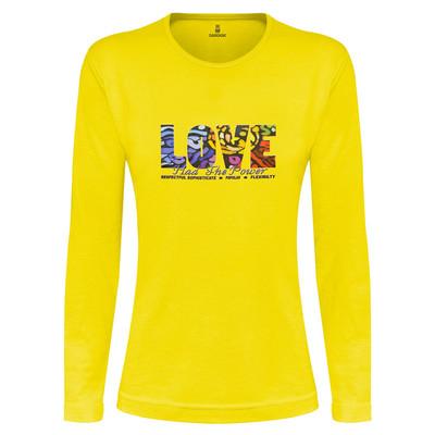 تی شرت آستین بلند زنانه ساروک طرح LOVE رنگ زرد