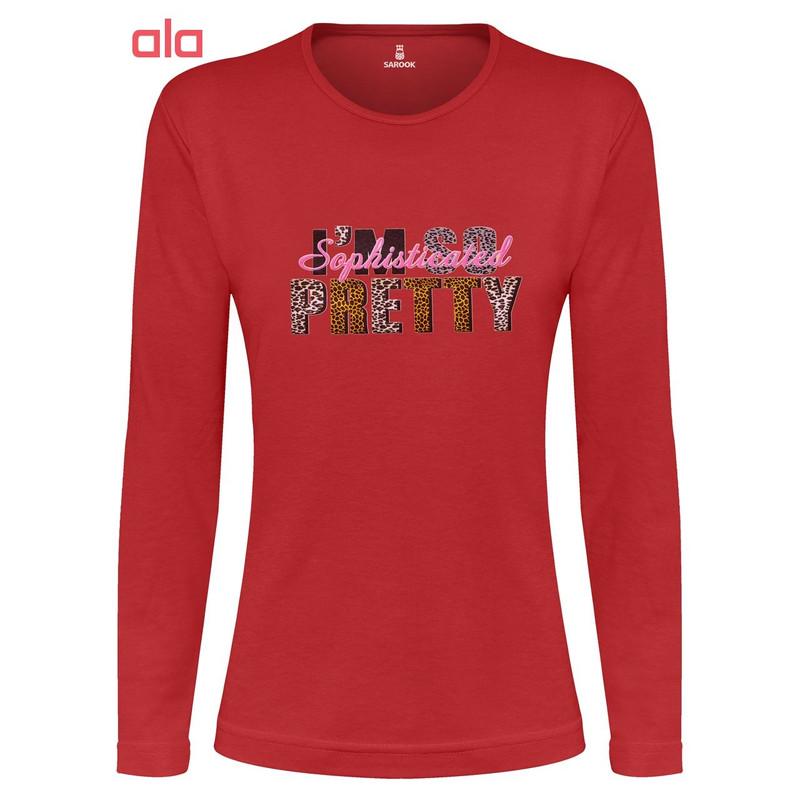 تی شرت آستین بلند زنانه ساروک طرح PRETTY رنگ قرمز