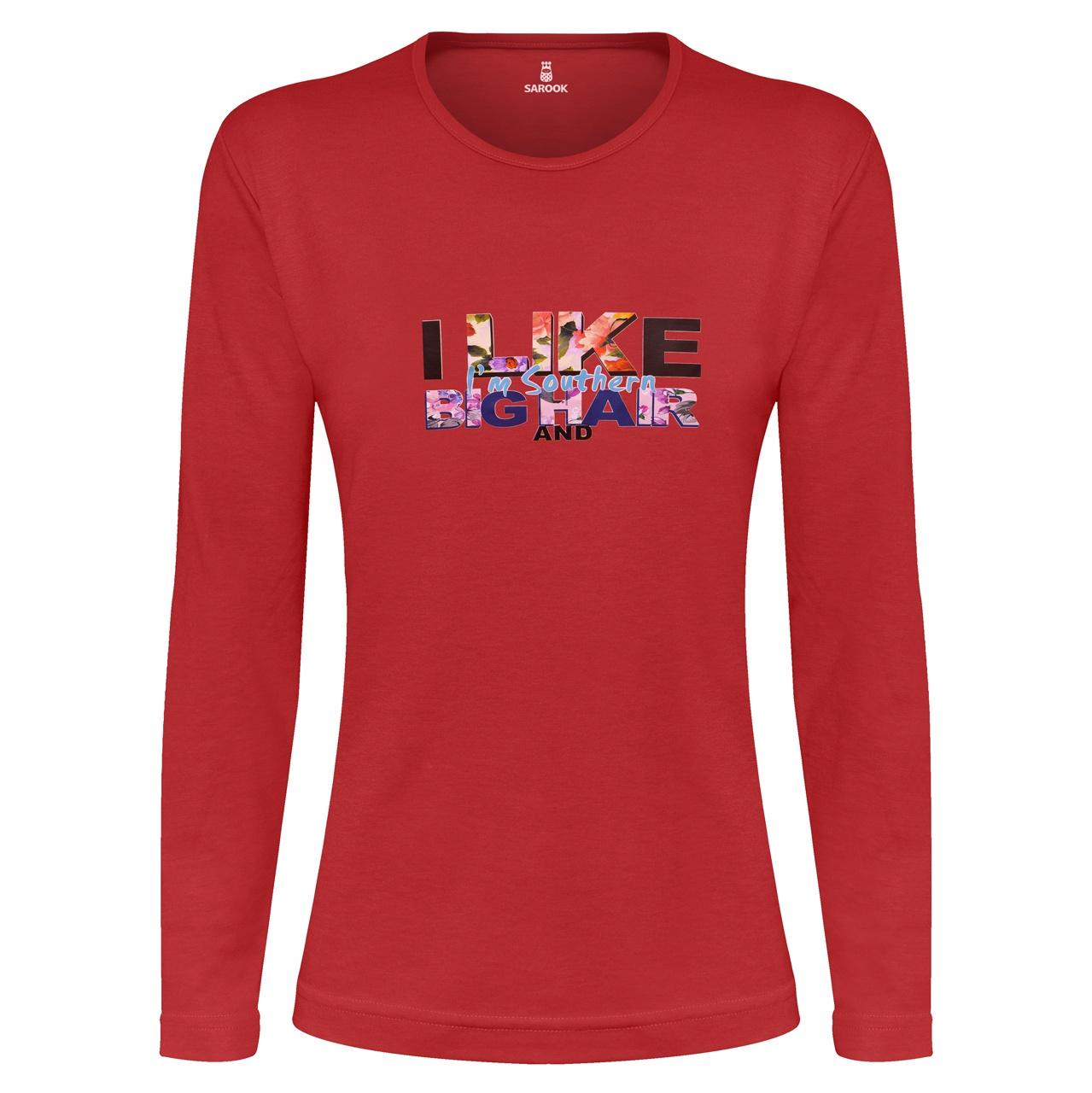 تی شرت آستین بلند زنانه ساروک طرح I LIKE رنگ قرمز