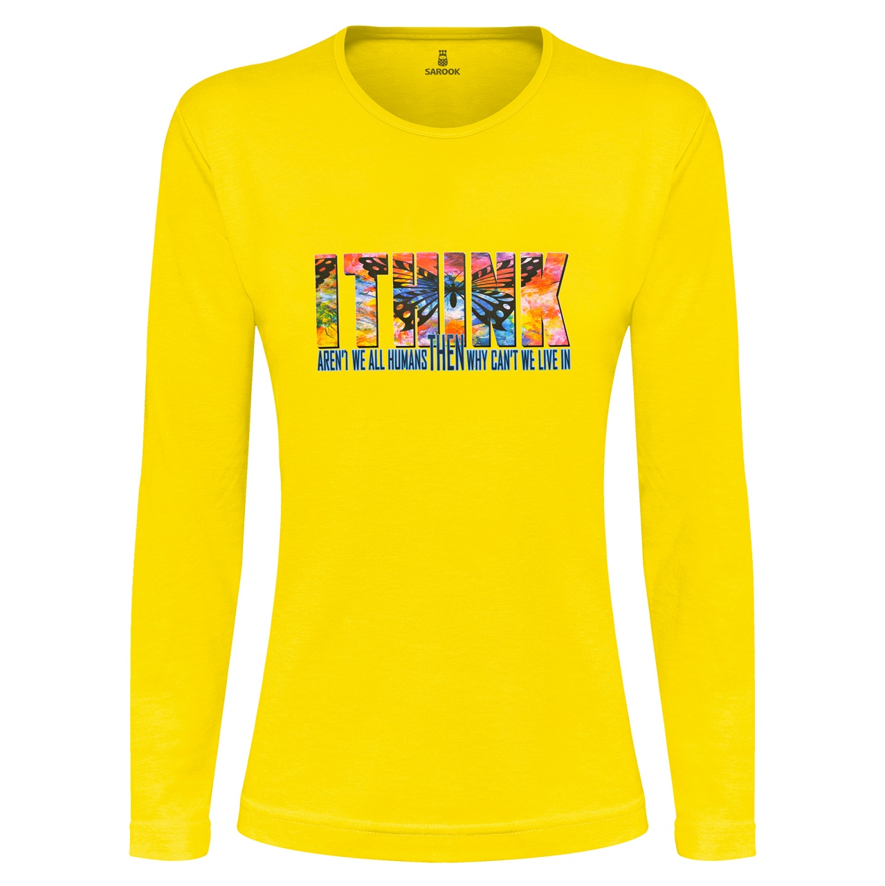 تی شرت آستین بلند نه ساروک طرح I THINK رنگ زرد