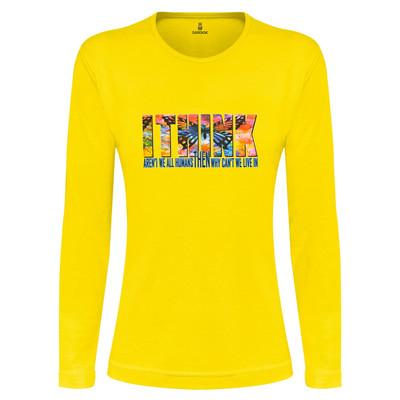 تی شرت آستین بلند زنانه ساروک طرح I THINK رنگ زرد