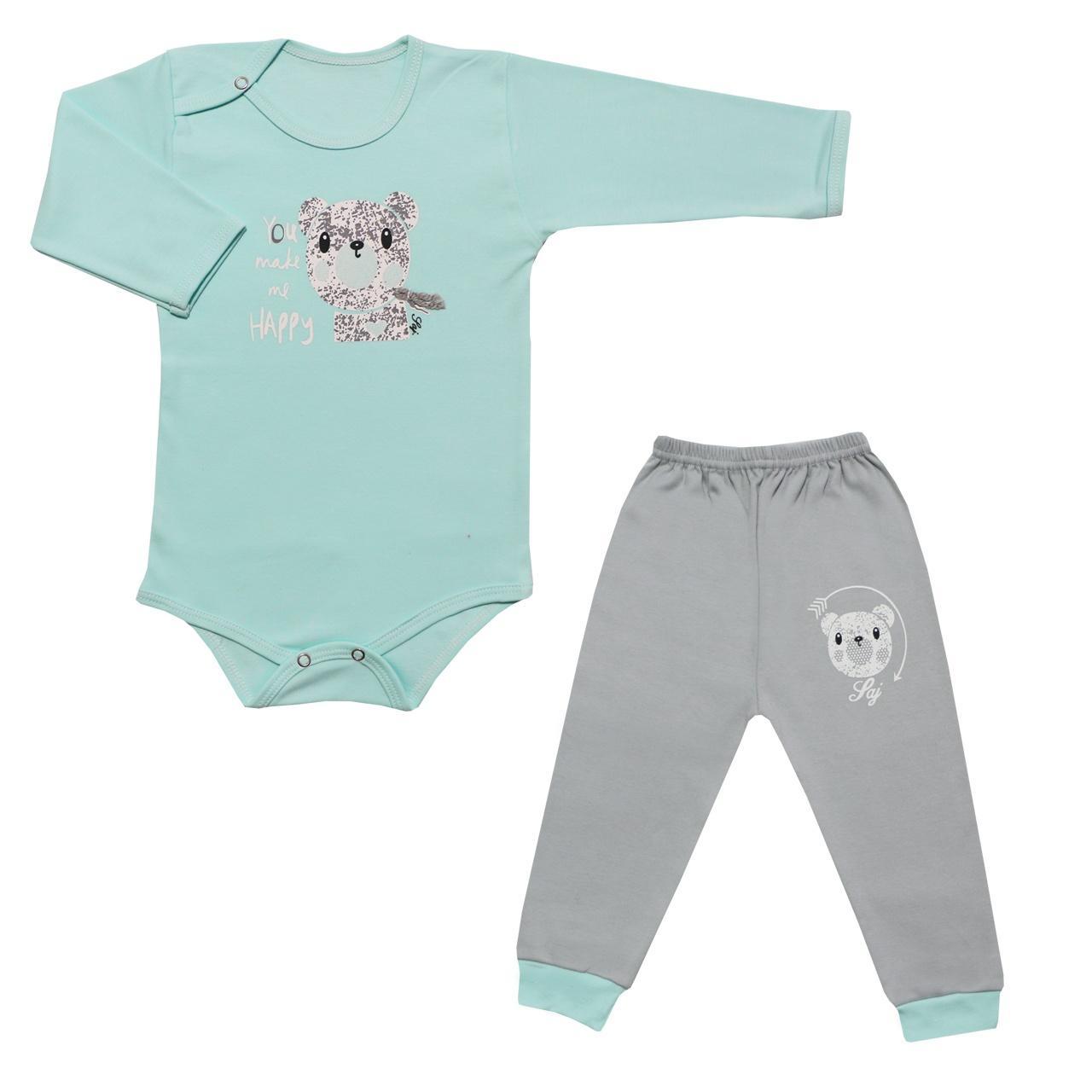 ست بادی آستین بلند و شلوار نوزادی طرح خرس کد 10-11