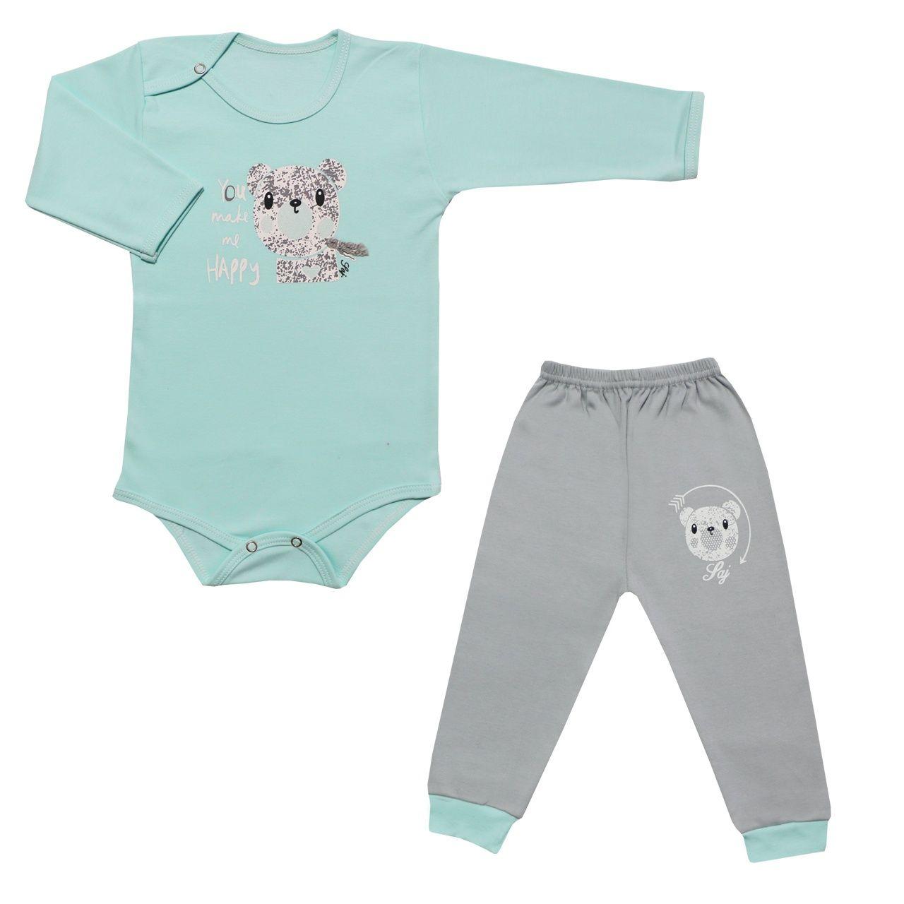 ست بادی آستین بلند و شلوار نوزادی طرح خرس کد 10-11 -  - 2