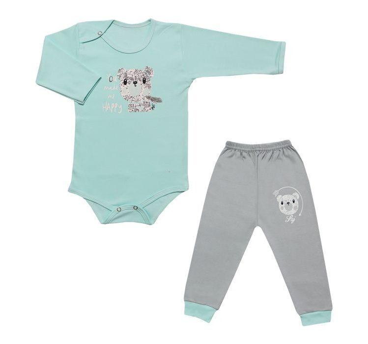 ست بادی آستین بلند و شلوار نوزادی طرح خرس کد 10-11 -  - 3