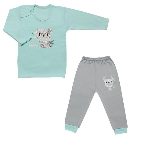 ست تی شرت آستین بلند و شلوار نوازدی طرح خرس کد 10-22