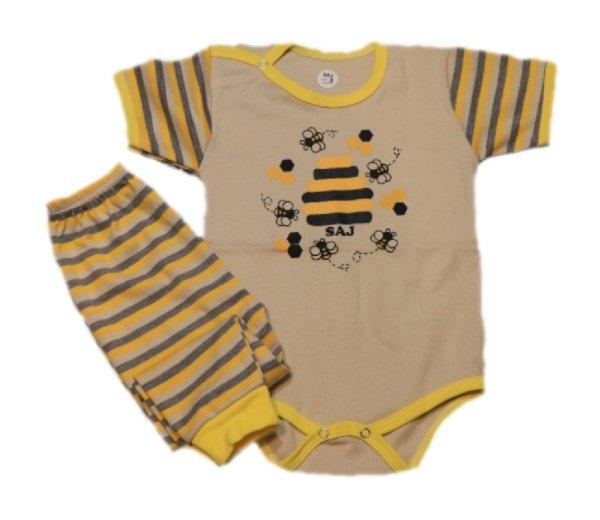 ست بادی و شلوار نوزادی ساج طرح زنبور کد 01
