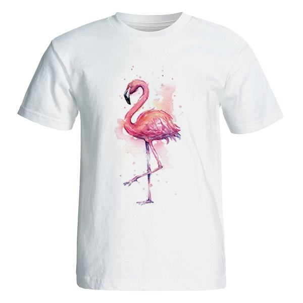 تی شرت آستین کوتاه زنانه طرح فلامینگو
