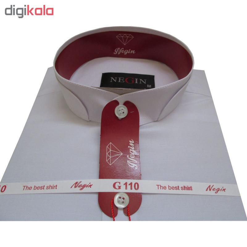 پیراهن مردانه نگین مدل DAK کد 20297 رنگ سفید