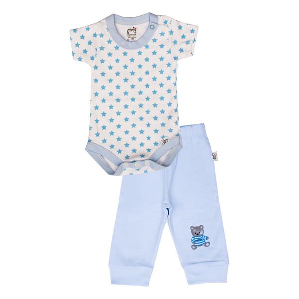 ست بادی و شلوار نوزادی پسرانه آدمک طرح ستاره آبی  کد 06