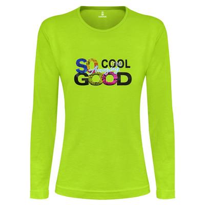 Photo of تی شرت آستین بلند زنانه ساروک طرح SO COOL رنگ سبز فسفری