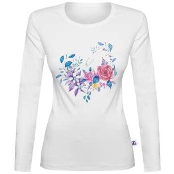 تی شرت آستین بلند زنانه آکو طرح گل کد SS78