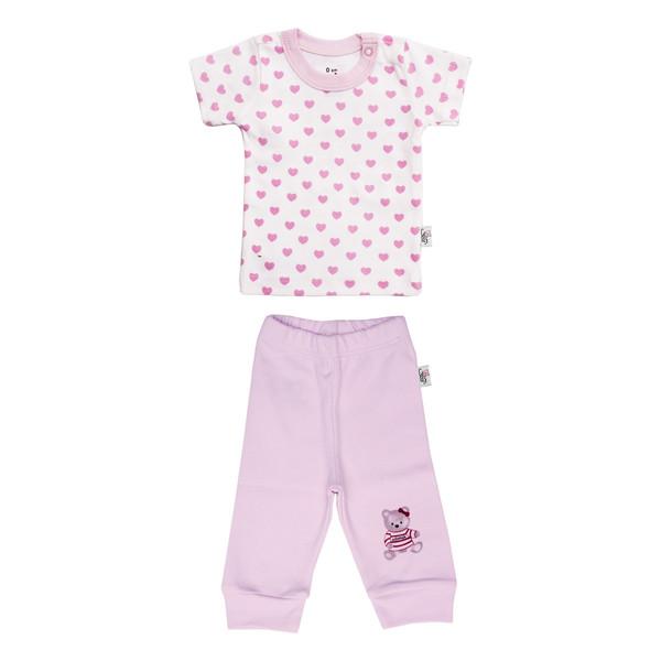 ست تی شرت و شلوار نوزادی دخترانه آدمک طرح قلب  کد 01